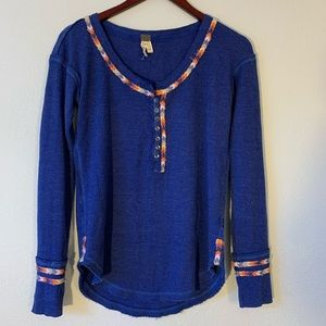 FREE PEOPLE Henley waffle comfy long sleeve cotton